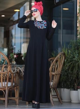 İrem Nakışlı Elbise - Siyah