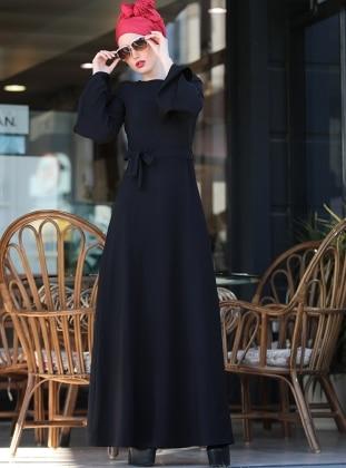Volanlı Işık Elbise - Siyah