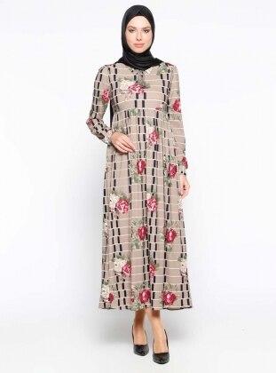 Çiçek Desenli Elbise - Vizon