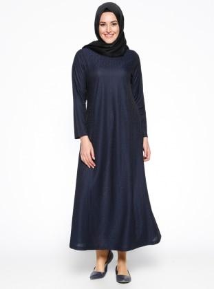 Desenli Elbise - Siyah Lacivert