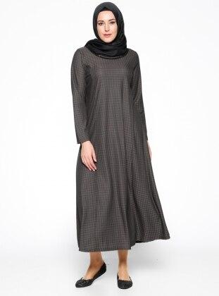 Desenli Elbise - Siyah Vizon
