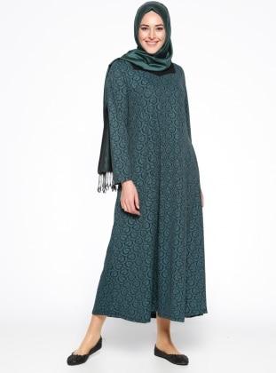 Desenli Elbise - Siyah Yeşil