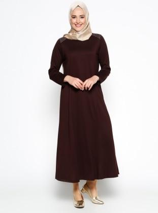 Düz Renk Elbise - Kahverengi