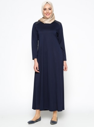 Düz Renk Elbise - Lacivert