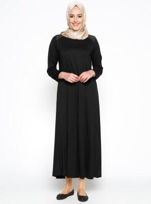 Düz Renk Elbise - Siyah