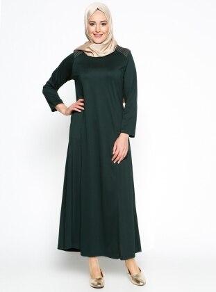 Neslihan Triko Düz Renk Elbise - Yeşil