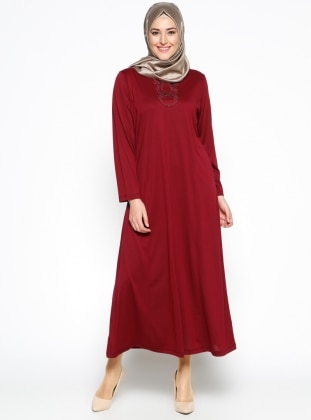 Payet Detaylı Elbise - Bordo