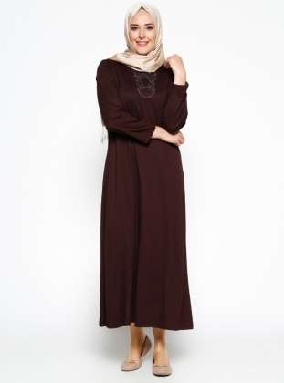 Neslihan Triko Payet Detaylı Elbise - Kahverengi