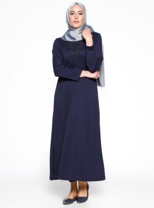 Payet Detaylı Elbise - Lacivert