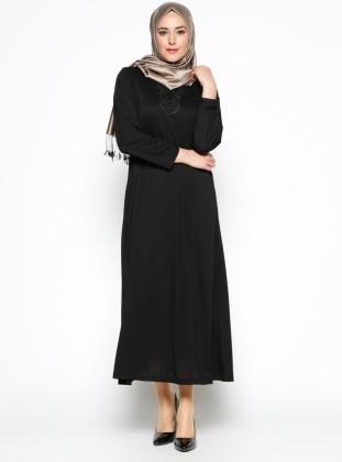 Payet Detaylı Elbise - Siyah