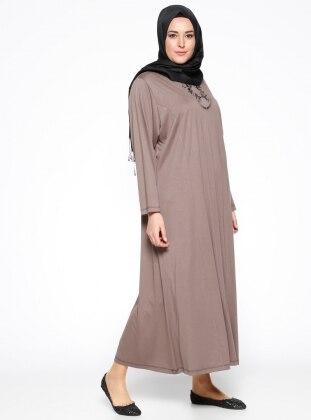 Payet Detaylı Elbise - Vizon