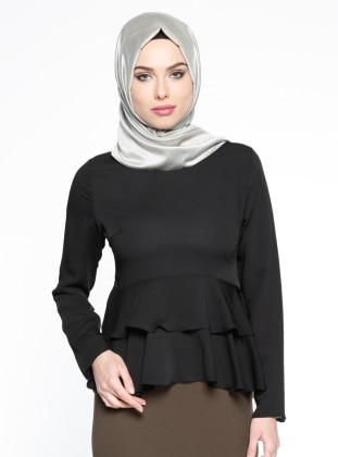 Peplum Detaylı Bluz - Siyah Belle Belemir