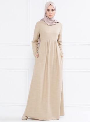 Pile Detaylı Elbise - Bej