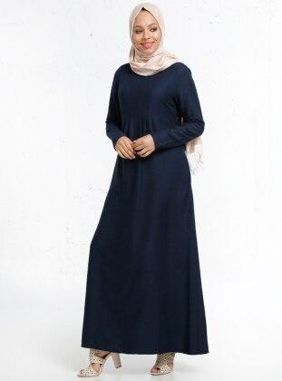 Pile Detaylı Elbise - Lacivert