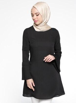 Pilise Detaylı Tunik - Siyah Belle Belemir
