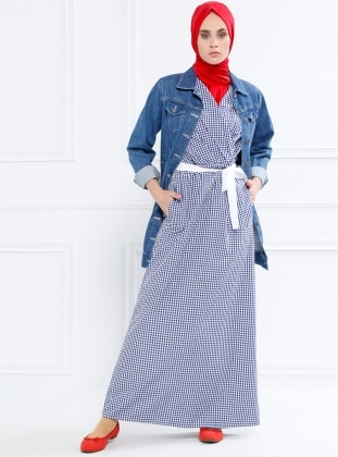 Pötikareli Kolsuz Elbise - Lacivert