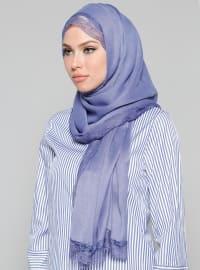 Blue - Plain - Lace - Acrylic - Shawl
