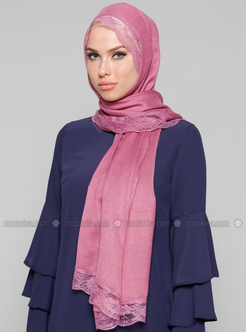 Pink - Plain - Lace - Acrylic - Shawl