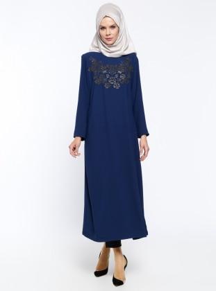 Baskılı Elbise Ferace - Lacivert