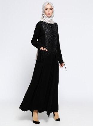 Cep Detaylı Ferace - Siyah
