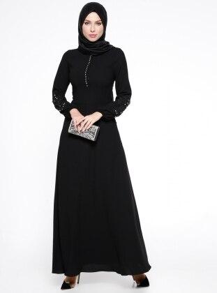 Dantel Detaylı Abiye Elbise - Siyah