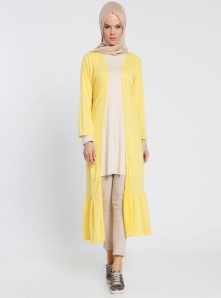 Eteği Volanlı Hırka - Sarı