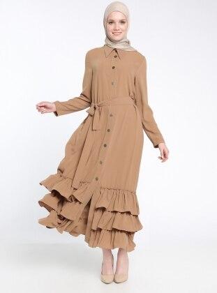 Fırfır Detaylı Düğmeli Elbise - Camel