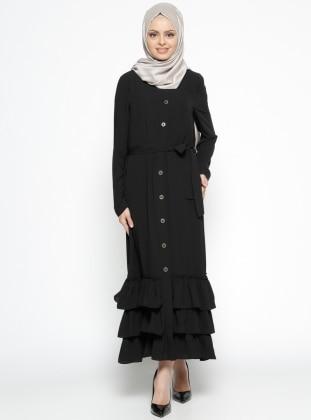 Fırfır Detaylı Düğmeli Elbise - Siyah
