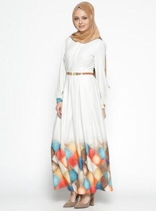 Etrucci Kemerli Elbise - Bej