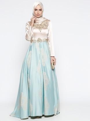 Taş İşlemeli Abiye Elbise - Mint