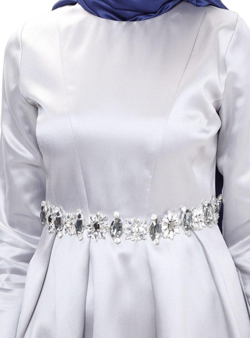 Puane Gri Taş Süslemeli Abiye Elbise