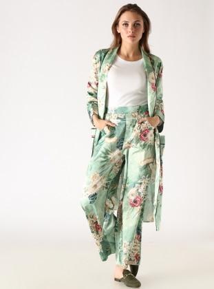Çiçek Desenli Bol Paça Pantolon - Yeşil