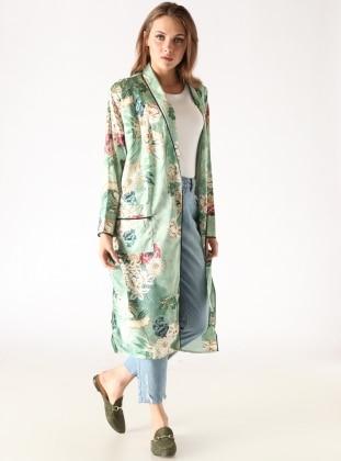 Çiçek Desenli Uzun Kimono - Yeşil