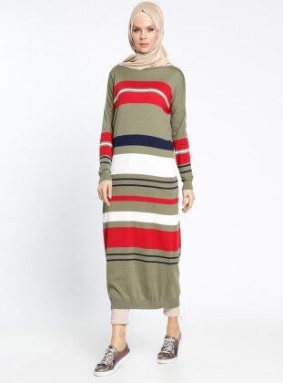 Çizgili Triko Elbise - Haki Kırmızı