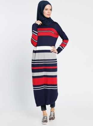 Çizgili Triko Elbise - Lacivert Kırmızı