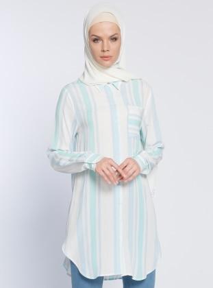 Eva Fashion Çizgili Tunik - Mavi Ekru