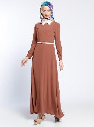 Kemerli Elbise - Taba
