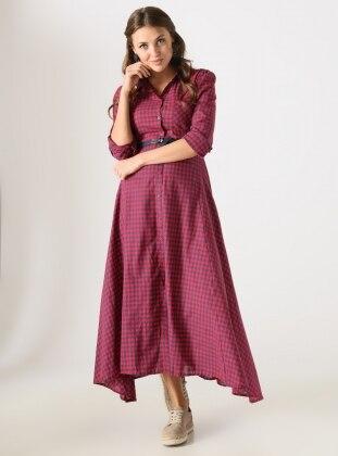 Dilvin Pötikareli Elbise - Kırmızı Lacivert