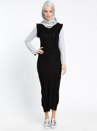 Triko Jile Elbise - Siyah