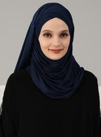 Navy Blue - Plain - Pinless - Cotton - Combed Cotton - Instant Scarf