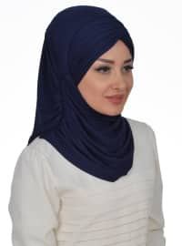 Navy Blue - Plain - Pinless - Cotton - Instant Scarf