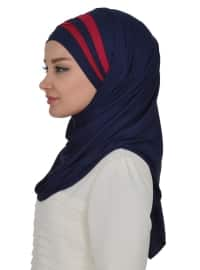 Navy Blue - Maroon - Plain - Pinless - Cotton - Instant Scarf
