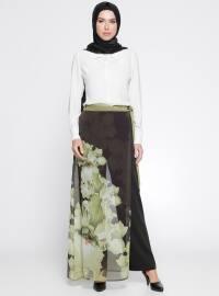 Pantolon Etek - Siyah Fıstık Yeşili - Guzella