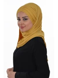 Yellow - Plain - Pinless - Cotton - Combed Cotton - Instant Scarf