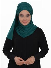 Green - Plain - Pinless - Cotton - Combed Cotton - Instant Scarf