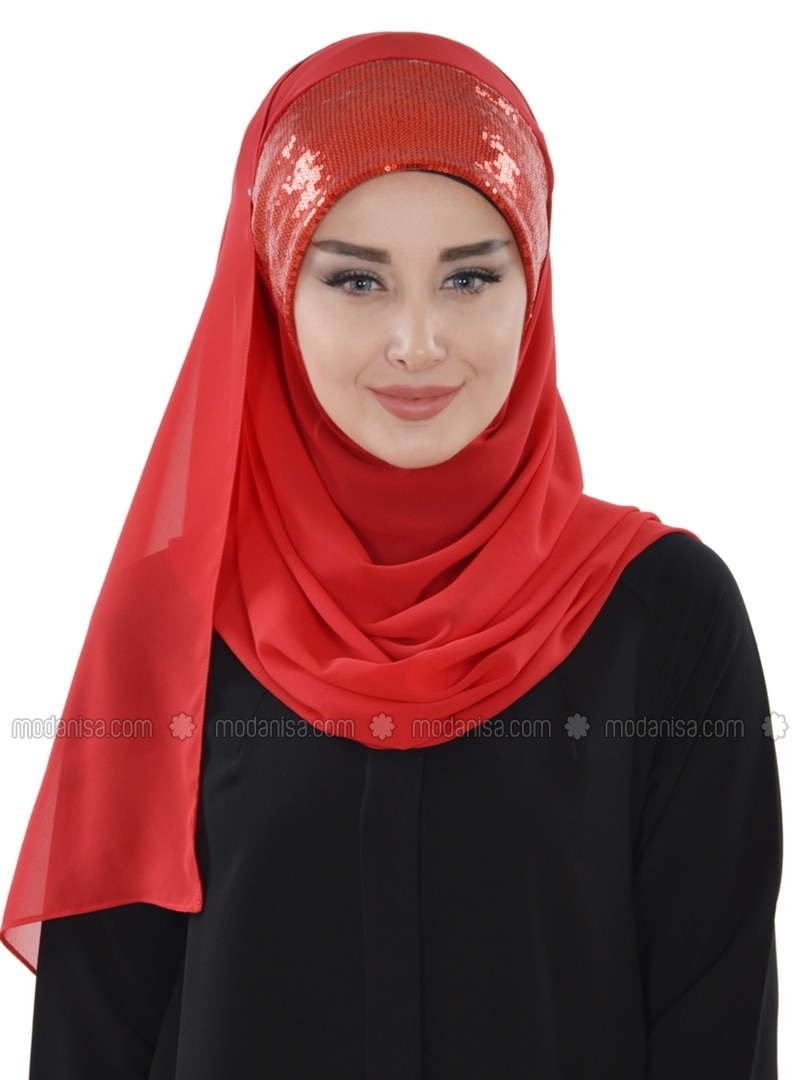 Chiffon - Pinless - Plain - Red - Instant Scarf