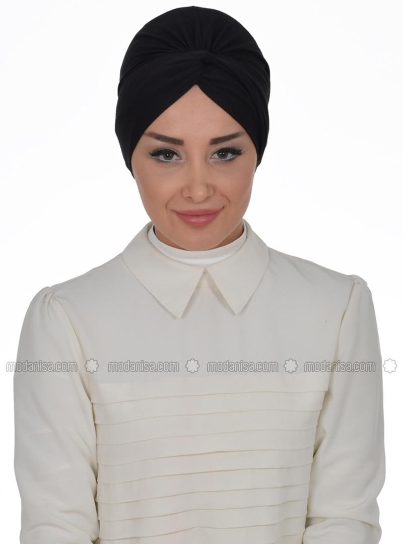 Cotton - Pinless - Plain - Black - Combed Cotton - Instant Scarf