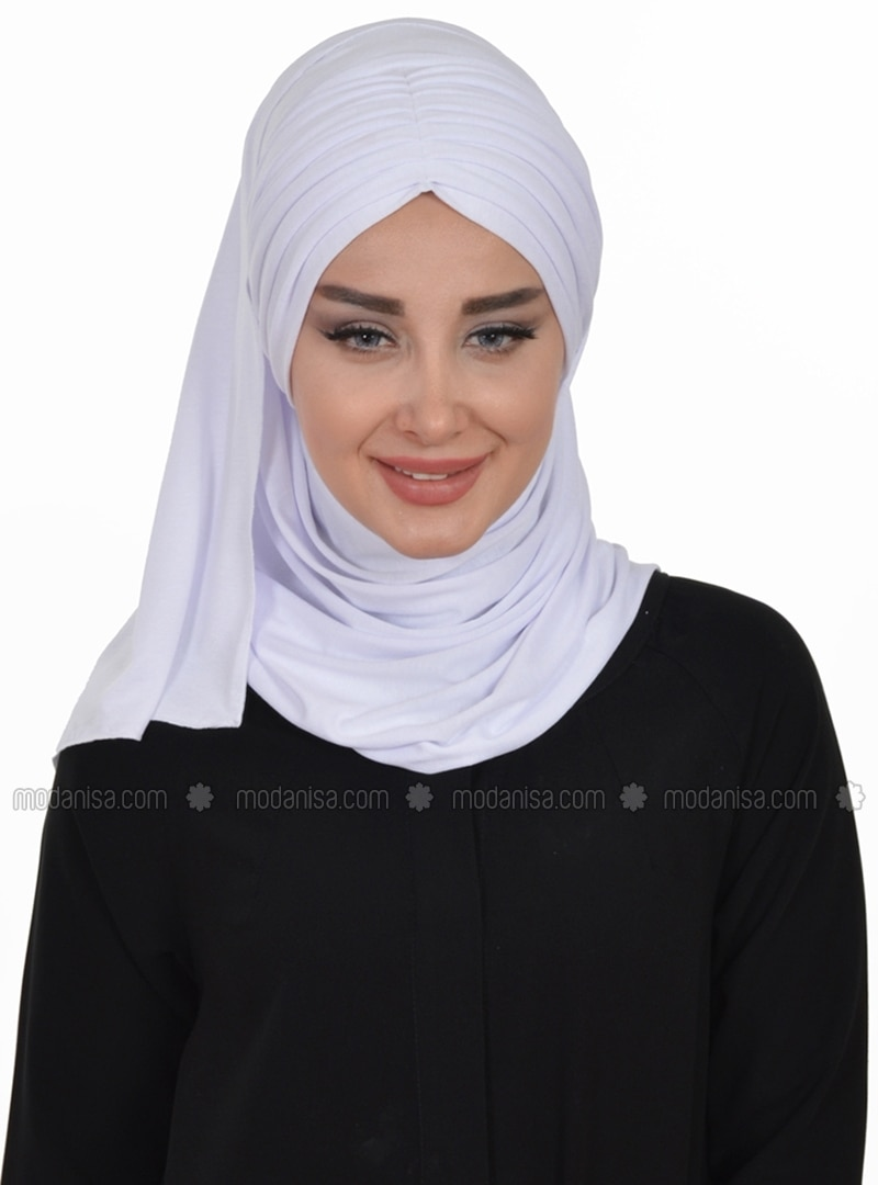 White - Plain - Pinless - Cotton - Combed Cotton - Instant Scarf