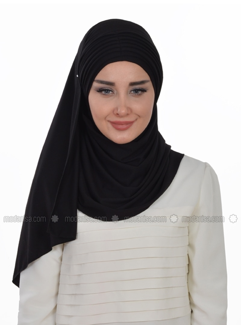 Black - Plain - Pinless - Cotton - Combed Cotton - Instant Scarf