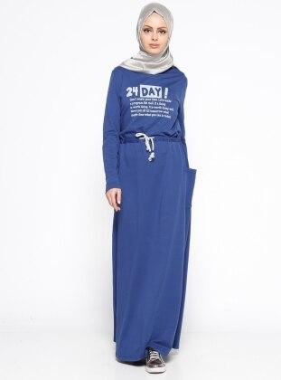 Baskılı Elbise - İndigo